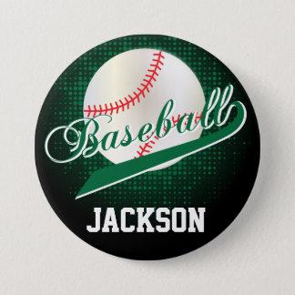 Dark Green Retro Baseball Style Pinback Button