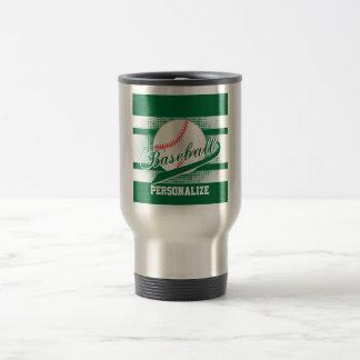 Dark Green Retro Baseball Style Travel Mug