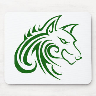 Dark Green Right Side Wolf Head Outline Mouse Pad
