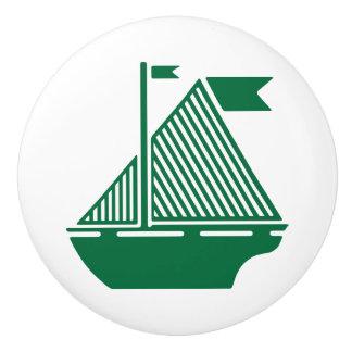 Dark Green Sailboats Ceramic Knob