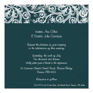 Dark Green Scroll  Wedding Invitation