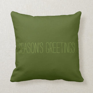 Dark Green Season s Greeting Retro Christmas Throw Pillow