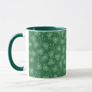 Dark Green Shamrocks Pattern Ringer Mug