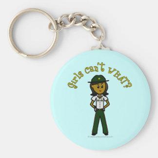 Dark Green Sheriff Girl Basic Round Button Keychain