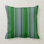 [ Thumbnail: Dark Green & Slate Gray Colored Pattern Pillow ]