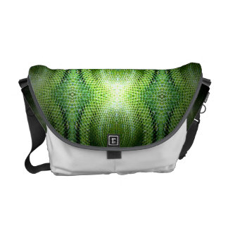 Dark Green Snake Skin Messenger Bags