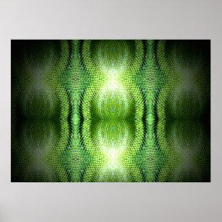 Dark Green Snake Skin Poster