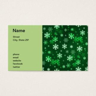 Dark Green Snowflakes Business Card