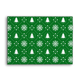 Dark Green Snowflakes Christmas Trees Pattern Envelope