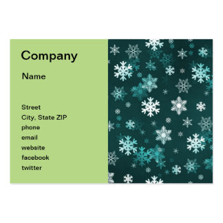 Dark Green Snowflakes Large Business Card