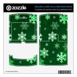 Dark Green Snowflakes Skin For BlackBerry 8820