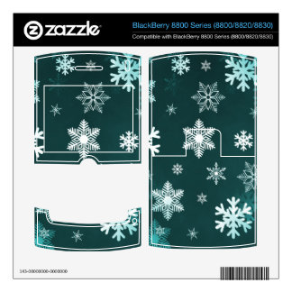 Dark Green Snowflakes Decal For BlackBerry 8830