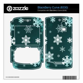 Dark Green Snowflakes BlackBerry Curve Decal