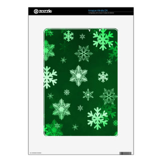 Dark Green Snowflakes Skins For Kindle DX