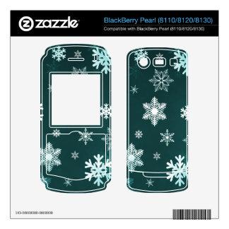 Dark Green Snowflakes Decals For BlackBerry
