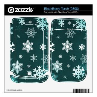 Dark Green Snowflakes BlackBerry Skins