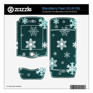 Dark Green Snowflakes BlackBerry Decal