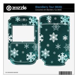 Dark Green Snowflakes BlackBerry Decals