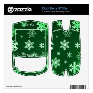 Dark Green Snowflakes Skin For BlackBerry