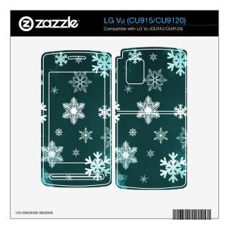 Dark Green Snowflakes Decal For LG Vu