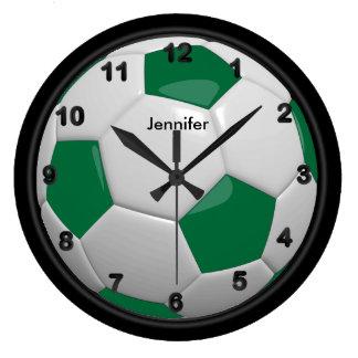 Dark Green Soccer Ball Style Large Clock