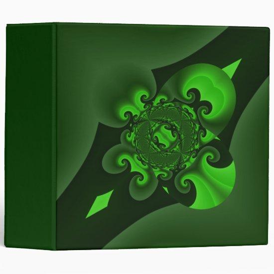 Dark Green Spiral Wave 3 Ring Binder