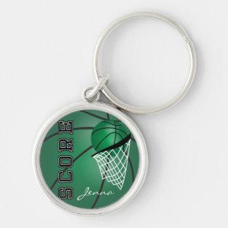 Dark Green Sport Basketball | DIY Text Silver-Colored Round Keychain