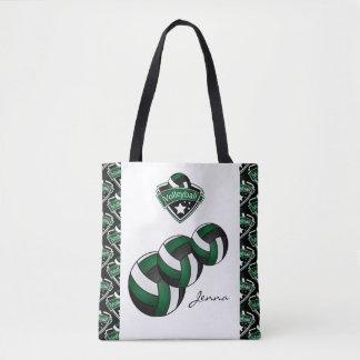 Dark Green Sport Volleyball Star | DIY Text Tote Bag
