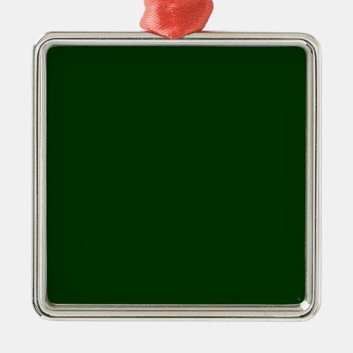 Dark Green Square Metal Christmas Ornament