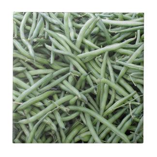 Dark Green String Beans Small Square Tile