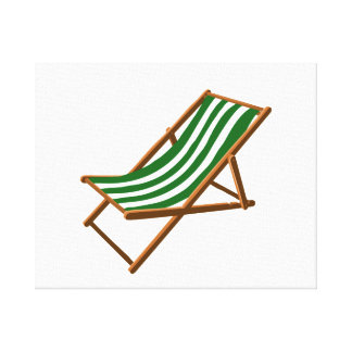 dark green striped wooden beach chair.png stretched canvas print