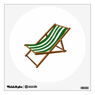 dark green striped wooden beach chair.png wall skin