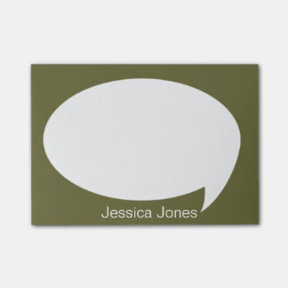 Dark Green Talk Bubble Rounded Personalized Post-it® Notes