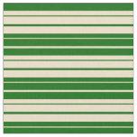 [ Thumbnail: Dark Green & Tan Colored Striped Pattern Fabric ]