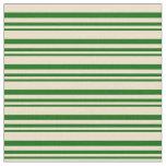 [ Thumbnail: Dark Green & Tan Colored Stripes Fabric ]