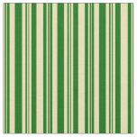 [ Thumbnail: Dark Green & Tan Striped/Lined Pattern Fabric ]