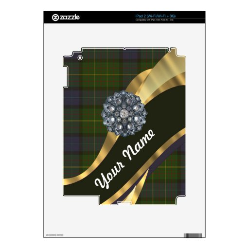 Dark green tartan skins for the iPad 2