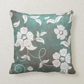 Dark Green Teal Background Large Cream Flowers Throw Pillow