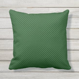 Dark Green Tiny Check Outdoor Pillow