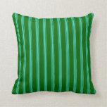 [ Thumbnail: Dark Green & Turquoise Lines/Stripes Pattern Throw Pillow ]