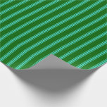 [ Thumbnail: Dark Green & Turquoise Lines/Stripes Pattern Wrapping Paper ]