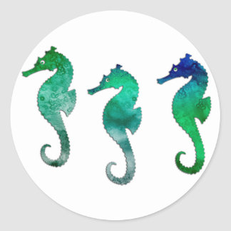 Dark Green Watercolor Seahorses Classic Round Sticker