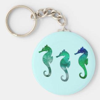 Dark Green  Watercolor Seahorses Keychain