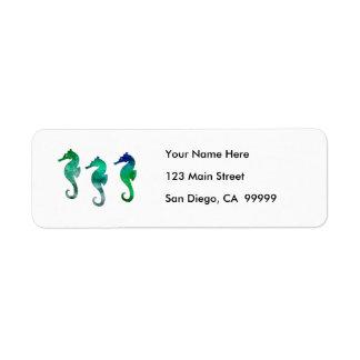 Dark Green Watercolor Seahorses Label