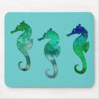 Dark Green Watercolor Seahorses Mousepad