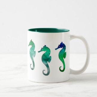 Dark Green  Watercolor Seahorses Two-Tone Coffee Mug