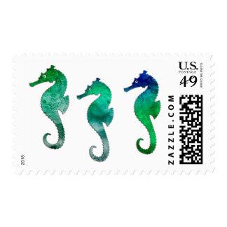 Dark Green  Watercolor Seahorses Postage