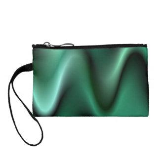 Dark green wave design change purses