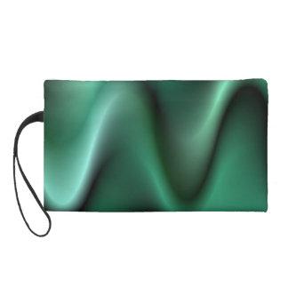 Dark green wave design wristlet clutches