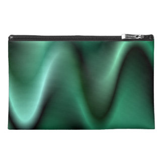 Dark green wave design travel accessory bags